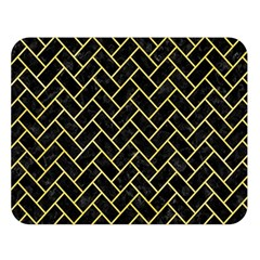 Brick2 Black Marble & Yellow Watercolor (r) Double Sided Flano Blanket (large)  by trendistuff