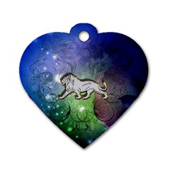 Wonderful Lion Silhouette On Dark Colorful Background Dog Tag Heart (one Side) by FantasyWorld7