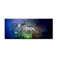 Wonderful Lion Silhouette On Dark Colorful Background Cosmetic Storage Cases by FantasyWorld7