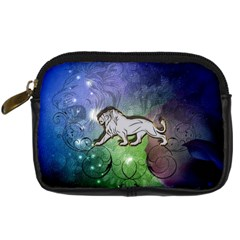 Wonderful Lion Silhouette On Dark Colorful Background Digital Camera Cases by FantasyWorld7