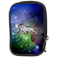 Wonderful Lion Silhouette On Dark Colorful Background Compact Camera Cases by FantasyWorld7