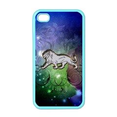 Wonderful Lion Silhouette On Dark Colorful Background Apple Iphone 4 Case (color) by FantasyWorld7
