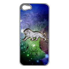 Wonderful Lion Silhouette On Dark Colorful Background Apple Iphone 5 Case (silver) by FantasyWorld7