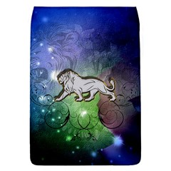 Wonderful Lion Silhouette On Dark Colorful Background Flap Covers (l)  by FantasyWorld7