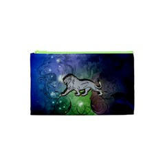 Wonderful Lion Silhouette On Dark Colorful Background Cosmetic Bag (xs) by FantasyWorld7