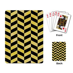 Chevron1 Black Marble & Yellow Watercolor Playing Card by trendistuff