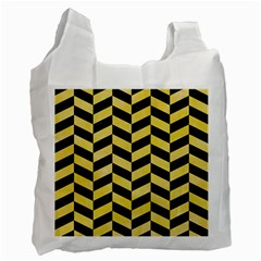 Chevron1 Black Marble & Yellow Watercolor Recycle Bag (two Side)  by trendistuff