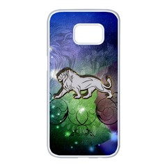 Wonderful Lion Silhouette On Dark Colorful Background Samsung Galaxy S7 Edge White Seamless Case by FantasyWorld7
