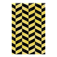 Chevron1 Black Marble & Yellow Watercolor Shower Curtain 48  X 72  (small)  by trendistuff