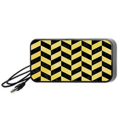 Chevron1 Black Marble & Yellow Watercolor Portable Speaker by trendistuff