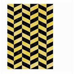 Chevron1 Black Marble & Yellow Watercolor Large Garden Flag (two Sides) by trendistuff