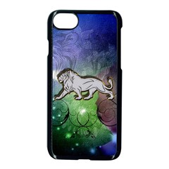 Wonderful Lion Silhouette On Dark Colorful Background Apple Iphone 8 Seamless Case (black)
