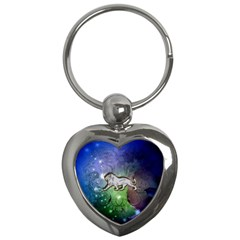 Wonderful Lion Silhouette On Dark Colorful Background Key Chains (heart)  by FantasyWorld7