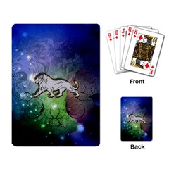 Wonderful Lion Silhouette On Dark Colorful Background Playing Card by FantasyWorld7