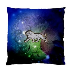 Wonderful Lion Silhouette On Dark Colorful Background Standard Cushion Case (one Side) by FantasyWorld7