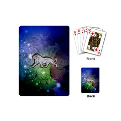 Wonderful Lion Silhouette On Dark Colorful Background Playing Cards (mini)  by FantasyWorld7