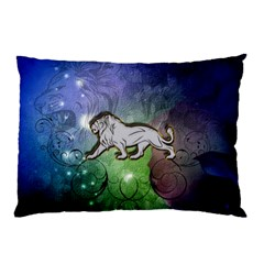 Wonderful Lion Silhouette On Dark Colorful Background Pillow Case (two Sides) by FantasyWorld7