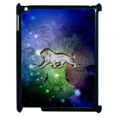 Wonderful Lion Silhouette On Dark Colorful Background Apple Ipad 2 Case (black) by FantasyWorld7