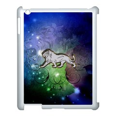 Wonderful Lion Silhouette On Dark Colorful Background Apple Ipad 3/4 Case (white) by FantasyWorld7