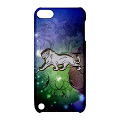 Wonderful Lion Silhouette On Dark Colorful Background Apple Ipod Touch 5 Hardshell Case With Stand by FantasyWorld7