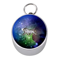 Wonderful Lion Silhouette On Dark Colorful Background Mini Silver Compasses by FantasyWorld7