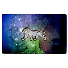 Wonderful Lion Silhouette On Dark Colorful Background Apple Ipad Pro 9 7   Flip Case by FantasyWorld7
