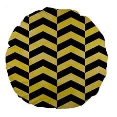 Chevron2 Black Marble & Yellow Watercolor Large 18  Premium Round Cushions by trendistuff