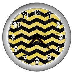 Chevron3 Black Marble & Yellow Watercolor Wall Clocks (silver)  by trendistuff