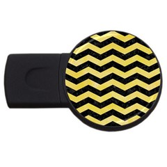 Chevron3 Black Marble & Yellow Watercolor Usb Flash Drive Round (4 Gb) by trendistuff