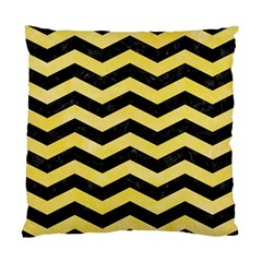 Chevron3 Black Marble & Yellow Watercolor Standard Cushion Case (two Sides) by trendistuff