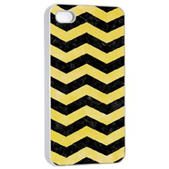 Chevron3 Black Marble & Yellow Watercolor Apple Iphone 4/4s Seamless Case (white) by trendistuff