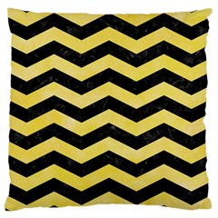 Chevron3 Black Marble & Yellow Watercolor Large Cushion Case (two Sides)