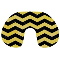 Chevron3 Black Marble & Yellow Watercolor Travel Neck Pillows by trendistuff
