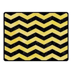 Chevron3 Black Marble & Yellow Watercolor Double Sided Fleece Blanket (small)  by trendistuff