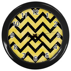 Chevron9 Black Marble & Yellow Watercolor Wall Clocks (black) by trendistuff