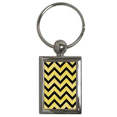 Chevron9 Black Marble & Yellow Watercolor Key Chains (rectangle)  by trendistuff