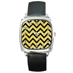 Chevron9 Black Marble & Yellow Watercolor Square Metal Watch