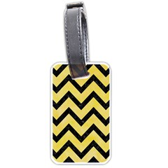 Chevron9 Black Marble & Yellow Watercolor Luggage Tags (two Sides) by trendistuff