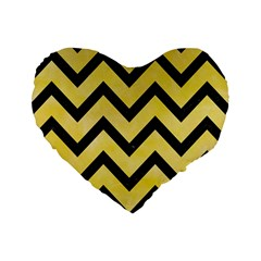 Chevron9 Black Marble & Yellow Watercolor Standard 16  Premium Heart Shape Cushions by trendistuff
