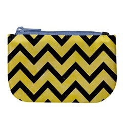 Chevron9 Black Marble & Yellow Watercolor Large Coin Purse by trendistuff