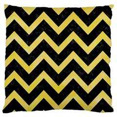 Chevron9 Black Marble & Yellow Watercolor (r) Large Cushion Case (one Side) by trendistuff