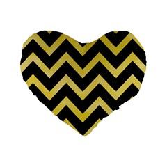 Chevron9 Black Marble & Yellow Watercolor (r) Standard 16  Premium Heart Shape Cushions by trendistuff