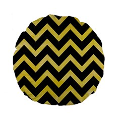 Chevron9 Black Marble & Yellow Watercolor (r) Standard 15  Premium Flano Round Cushions by trendistuff