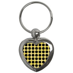 Circles1 Black Marble & Yellow Watercolor Key Chains (heart)  by trendistuff