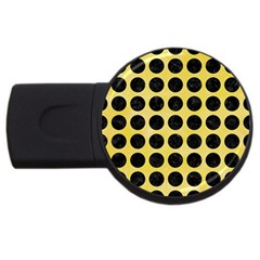 Circles1 Black Marble & Yellow Watercolor Usb Flash Drive Round (2 Gb) by trendistuff