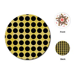 Circles1 Black Marble & Yellow Watercolor Playing Cards (round)  by trendistuff