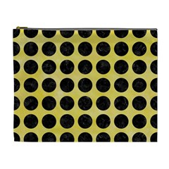 Circles1 Black Marble & Yellow Watercolor Cosmetic Bag (xl) by trendistuff