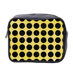 Circles1 Black Marble & Yellow Watercolor Mini Toiletries Bag 2 Side by trendistuff