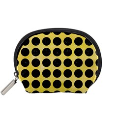 Circles1 Black Marble & Yellow Watercolor Accessory Pouches (small)  by trendistuff
