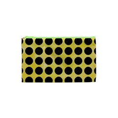 Circles1 Black Marble & Yellow Watercolor Cosmetic Bag (xs) by trendistuff